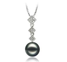 8-9mm AAA Quality Japanese Akoya Cultured Pearl Pendant in Rozene Black
