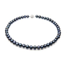 Single Black 7-8mm A Quality Freshwater 925 Sterling Silver Pearl Necklace