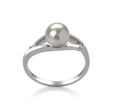 6-7mm AA Quality Japanese Akoya Cultured Pearl Ring in Tanya White