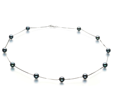 6-7mm AA Quality Japanese Akoya Cultured Pearl Necklace in Tin Cup Black