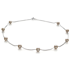6.5-7.5mm AA Quality Freshwater Cultured Pearl Necklace in Tin Cup White