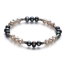 YinYang Black and White 6-7mm A Quality Freshwater Cultured Pearl Bracelet