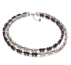 YinYang Black and White 6-7mm A Quality Freshwater 925 Sterling Silver Cultured Pearl Necklace