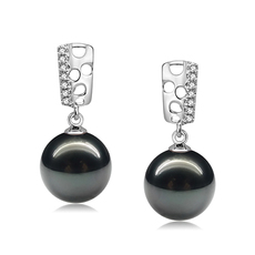9-10mm AAA Quality Tahitian Cultured Pearl Earring Pair in Zuella Black